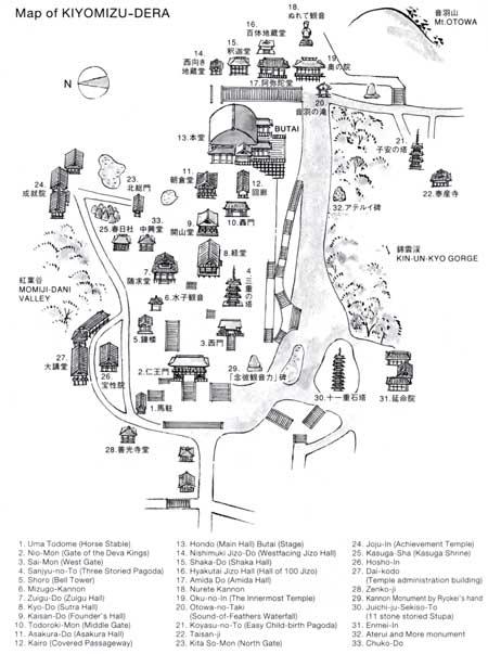 Mapa de Kiyomizu-dera